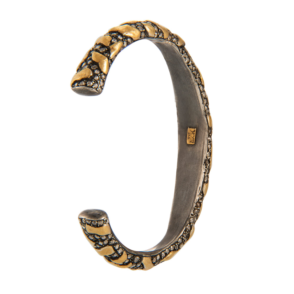 24K GOLD & OXIDIZED GILVER DIAMOND LIBRA CUFF