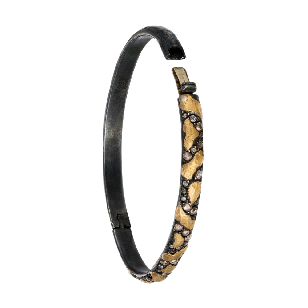 24K GOLD & OXIDIZED GILVER DIAMOND LIBRA BANGLE