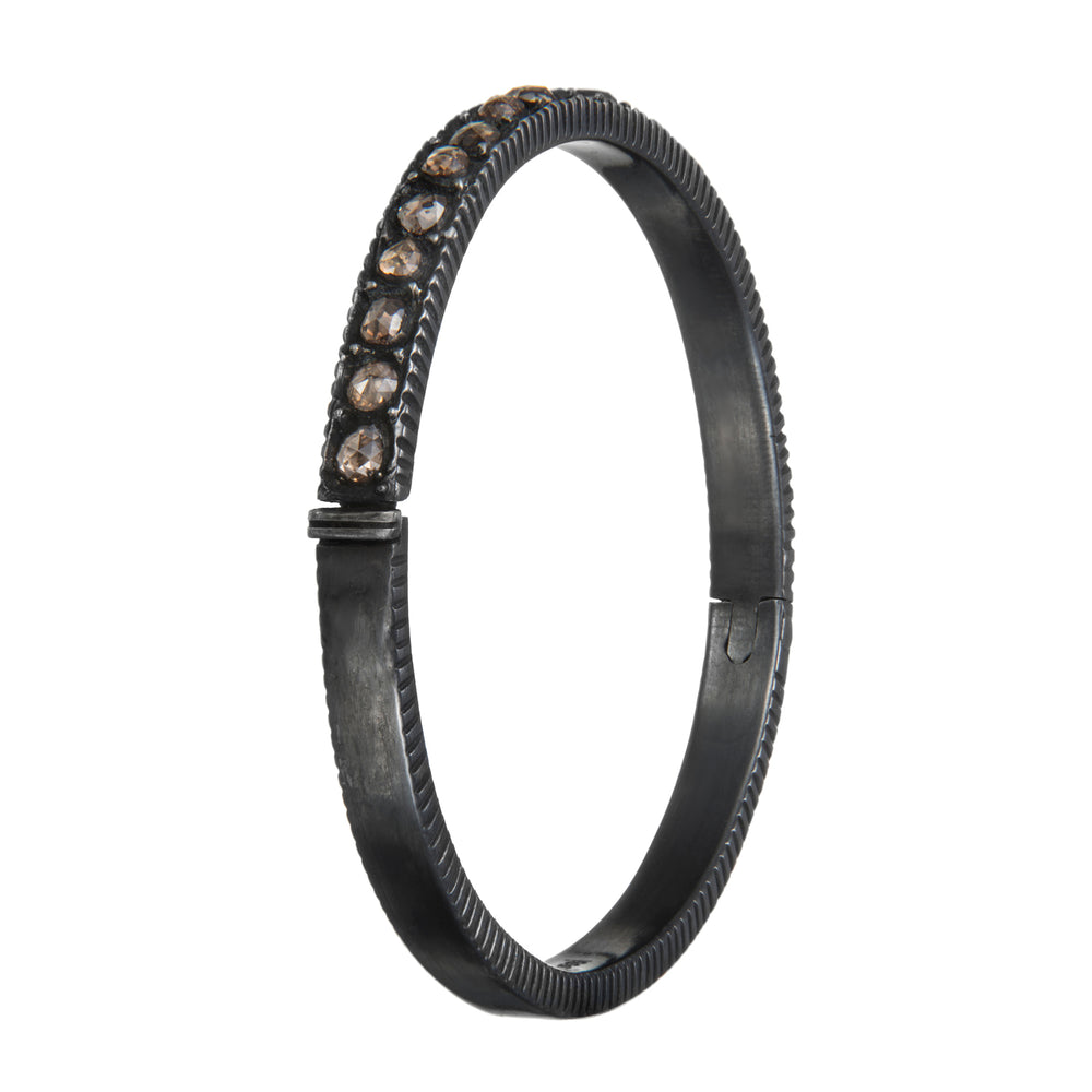 OXIDIZED GILVER ROSE-CUT DIAMOND SARA BANGLE
