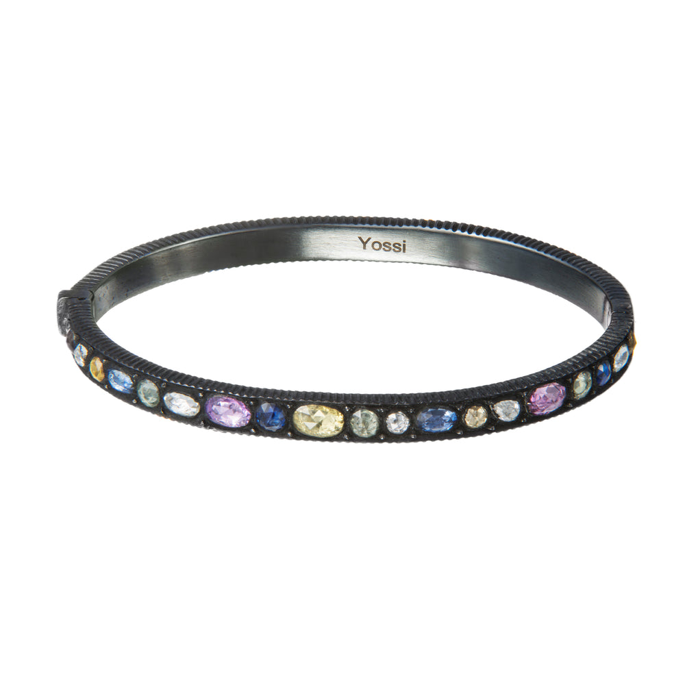OXIDIZED GILVER MULTI-COLORED SAPPHIRE CASCADE BANGLE