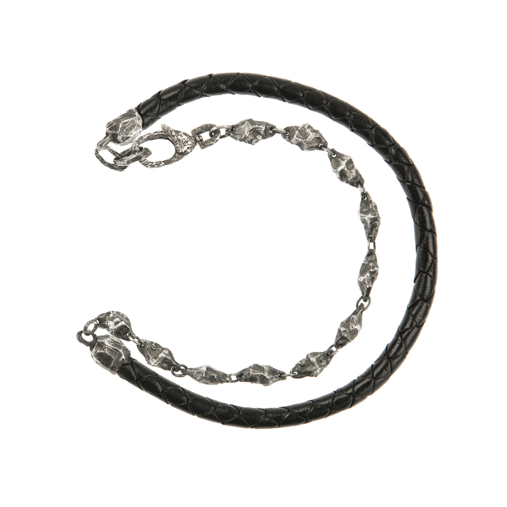 OXIDIZED STERLING SILVER & LEATHER PUNTA GALERA PACHA BRACELET