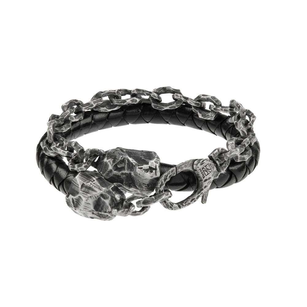 OXIDIZED STERLING SILVER & LEATHER PUNTA GALERA SMALL SPACE BRACELET