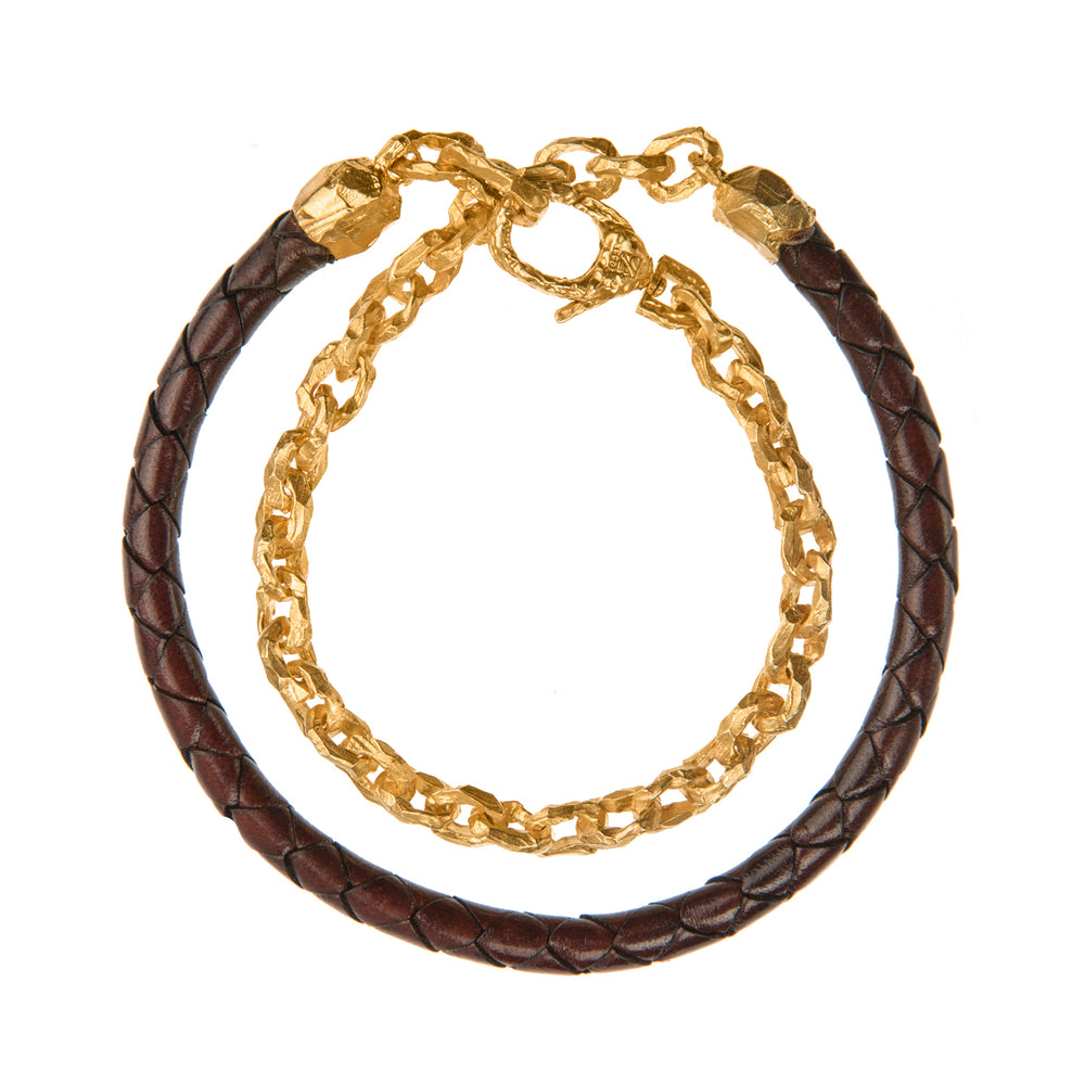 VERMEIL & LEATHER PUNTA GALERA SMALL SPACE BRACELET
