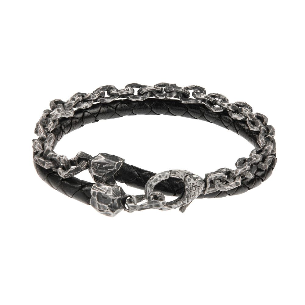 OXIDIZED STERLING SILVER & LEATHER PUNTA GALERA MEDIUM SPACE BRACELET