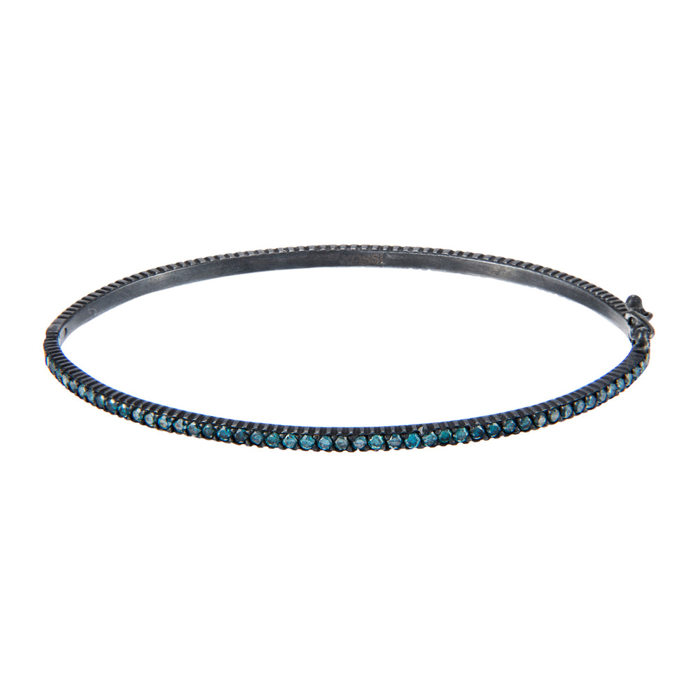 OXIDIZED GILVER BLUE DIAMOND LILAH HINGED BANGLE