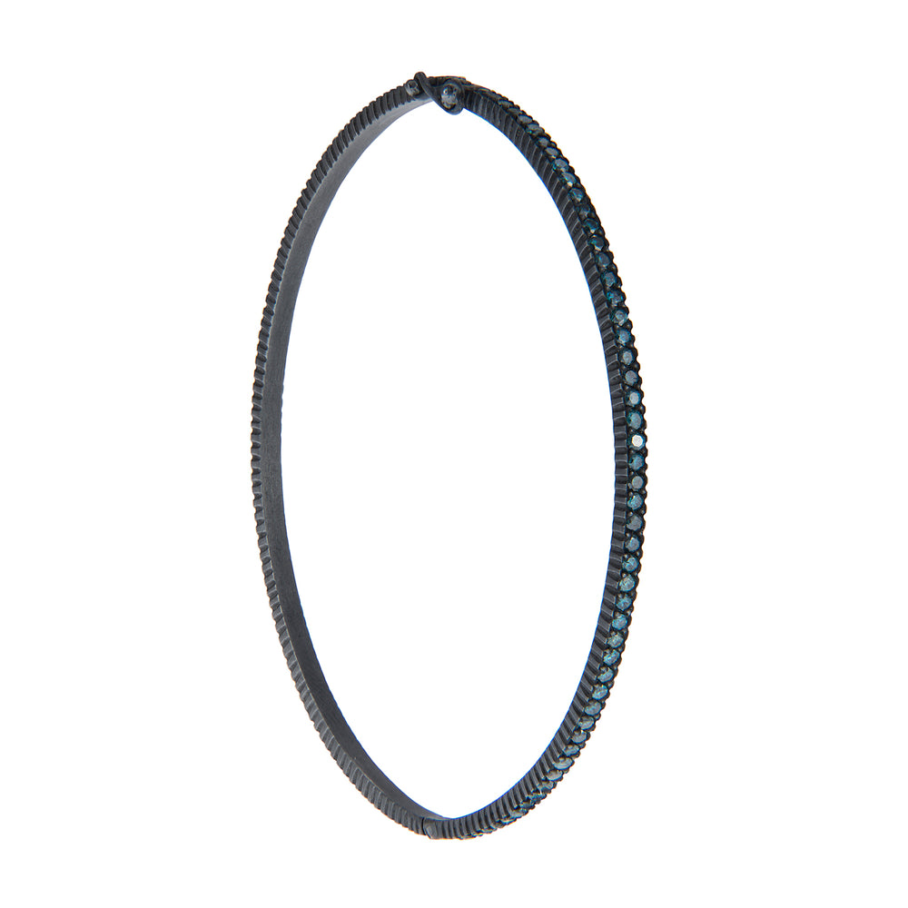 OXIDIZED GILVER PAVE BLUE DIAMOND LILAH BANGLE