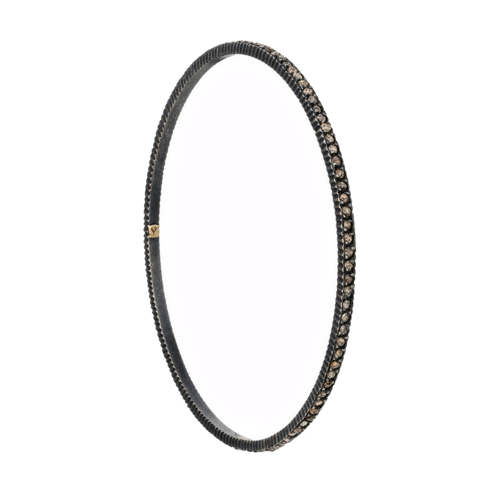 OXIDIZED GILVER COGNAC DIAMOND LILAH BANGLE