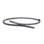OXIDIZED GILVER BLACK & COGNAC DIAMOND CRISS CROSS BRACELET
