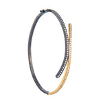 18K GOLD & OXIDIZED GILVER WHITE DIAMOND CRISS CROSS BRACELET