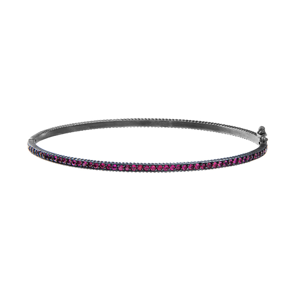 OXIDIZED GILVER RUBY LILAH HINGED BANGLE