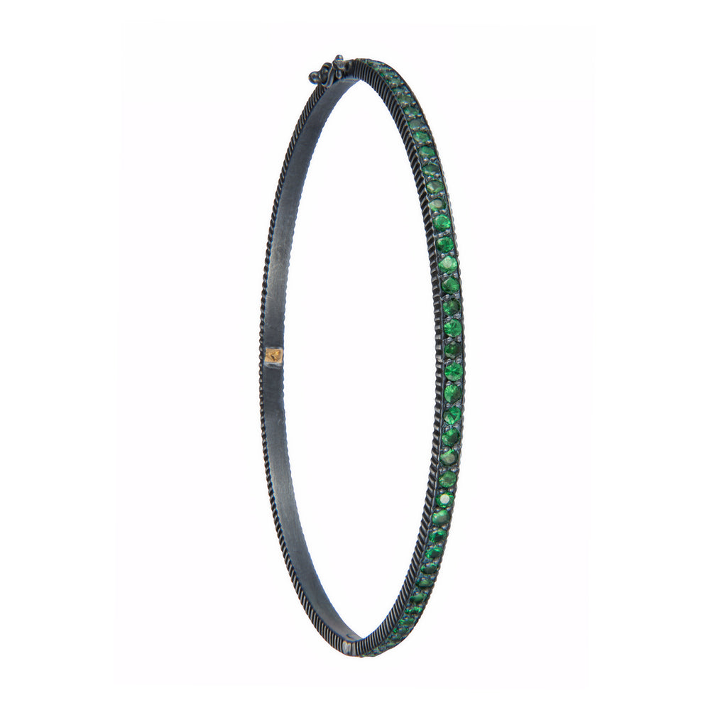 OXIDIZED GILVER TSAVORITE LILAH BANGLE