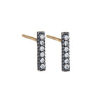 OXIDIZED GILVER DIAMOND STICK LILAH STUD EARRINGS