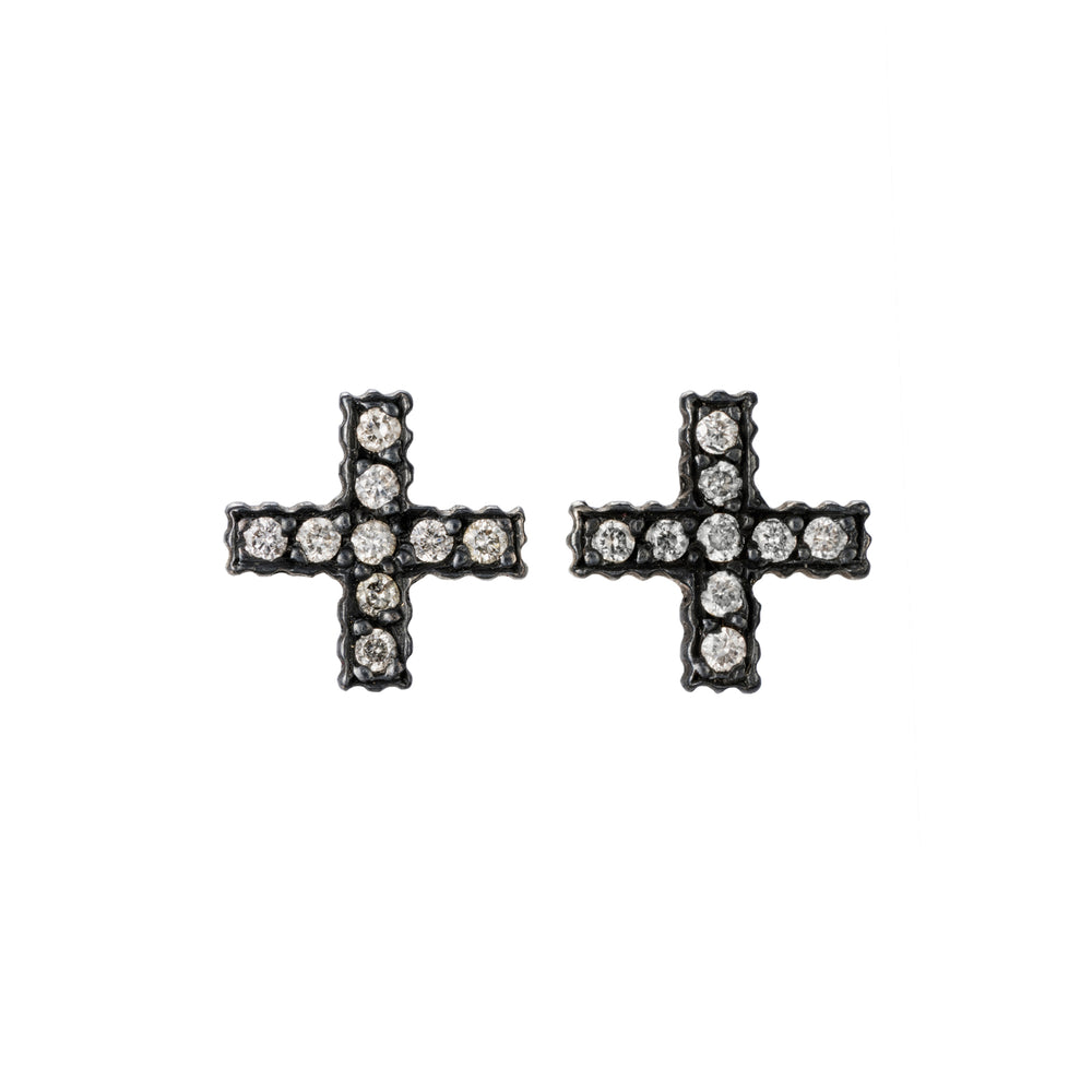 OXIDIZED GILVER DIAMOND POSITIVE SIGN LILAH STUD EARRINGS
