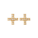 18K GOLD DIAMOND POSITIVE SIGN LILAH STUD EARRINGS