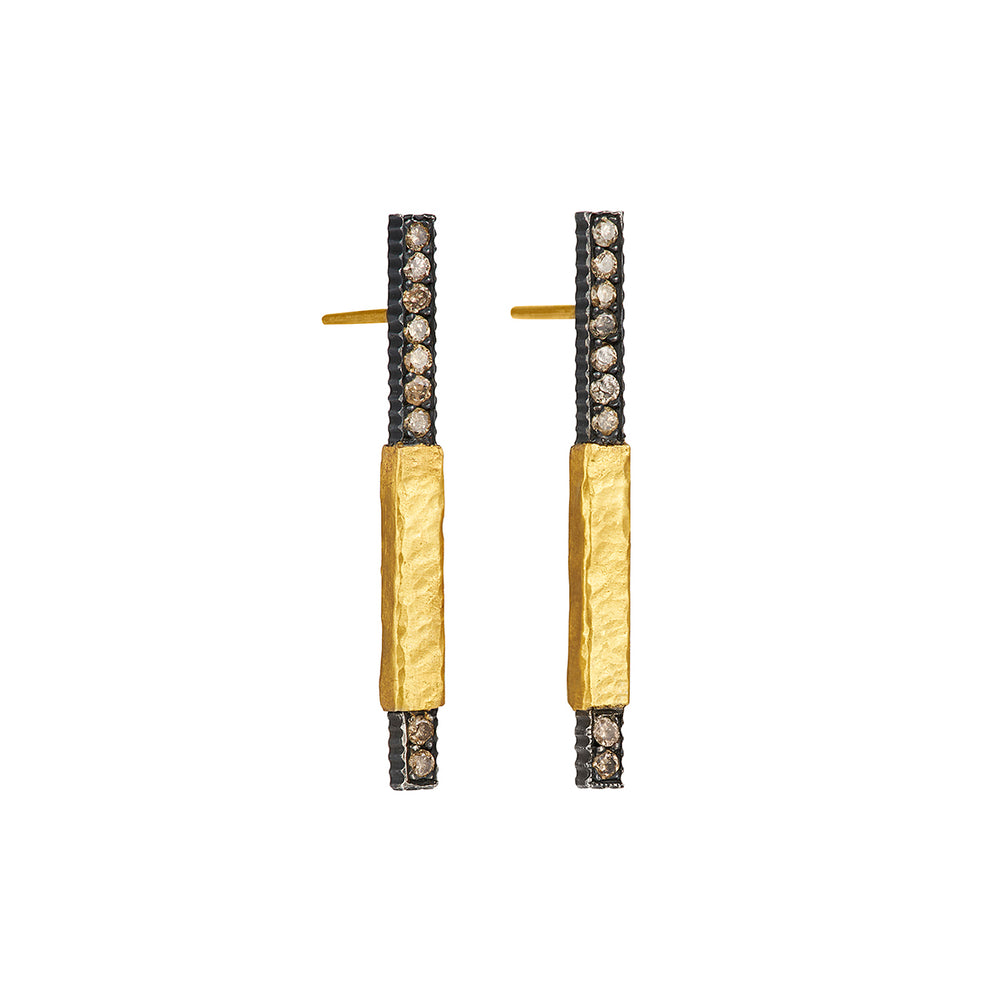 24K GOLD & OXIDIZED GILVER DIAMOND STICK LILAH EARRINGS