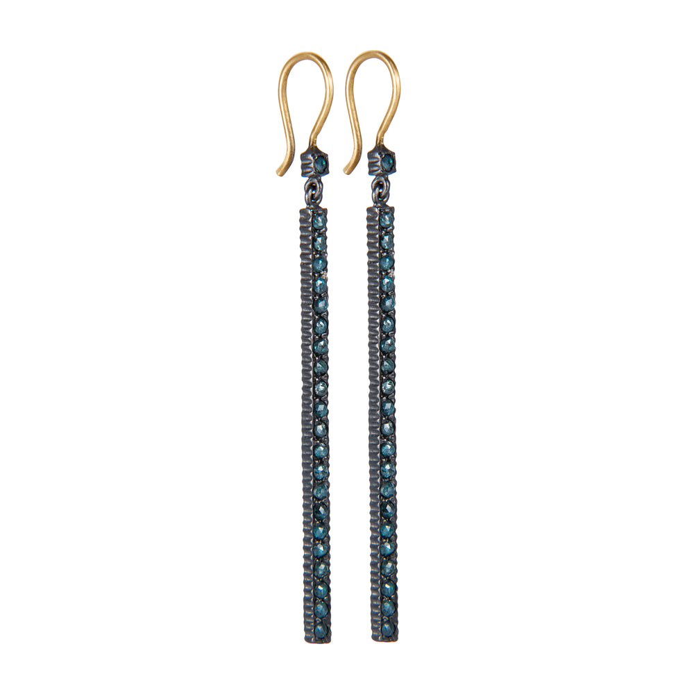 OXIDIZED GILVER PAVÉ BLUE ROSE-CUT DIAMOND LILAH EARRINGS