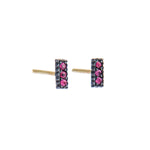 OXIDIZED GILVER PAVE RUBY LILAH STICK EARRINGS