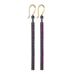 OXIDIZED GILVER PAVÉ RUBY STICK LILAH EARRINGS
