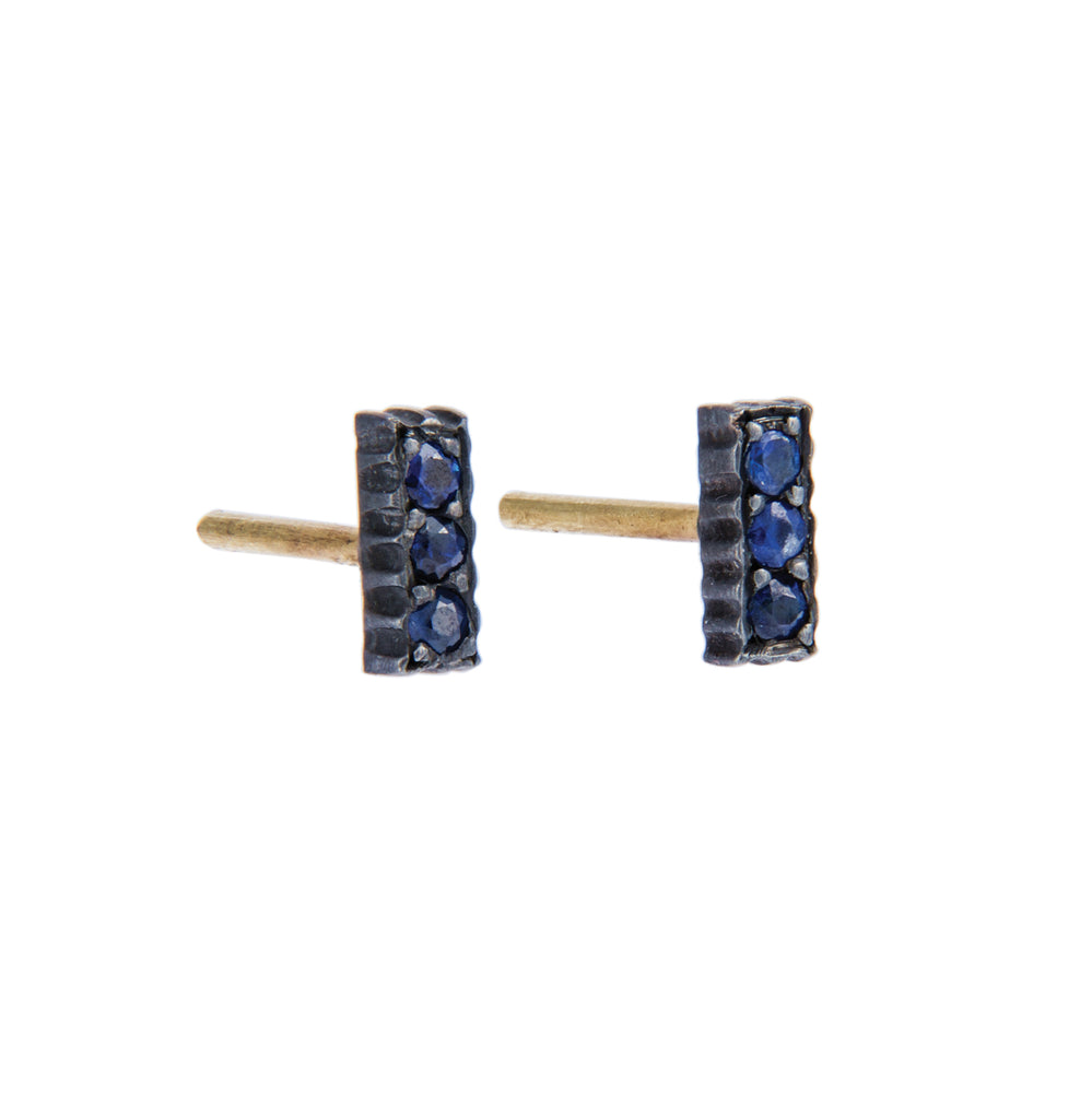 OXIDIZED GILVER SAPPHIRE LILAH STICK STUD EARRINGS