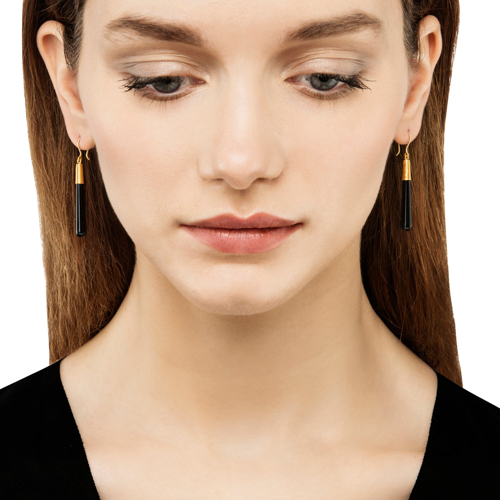 24K GOLD ONYX CONE JANE EARRINGS