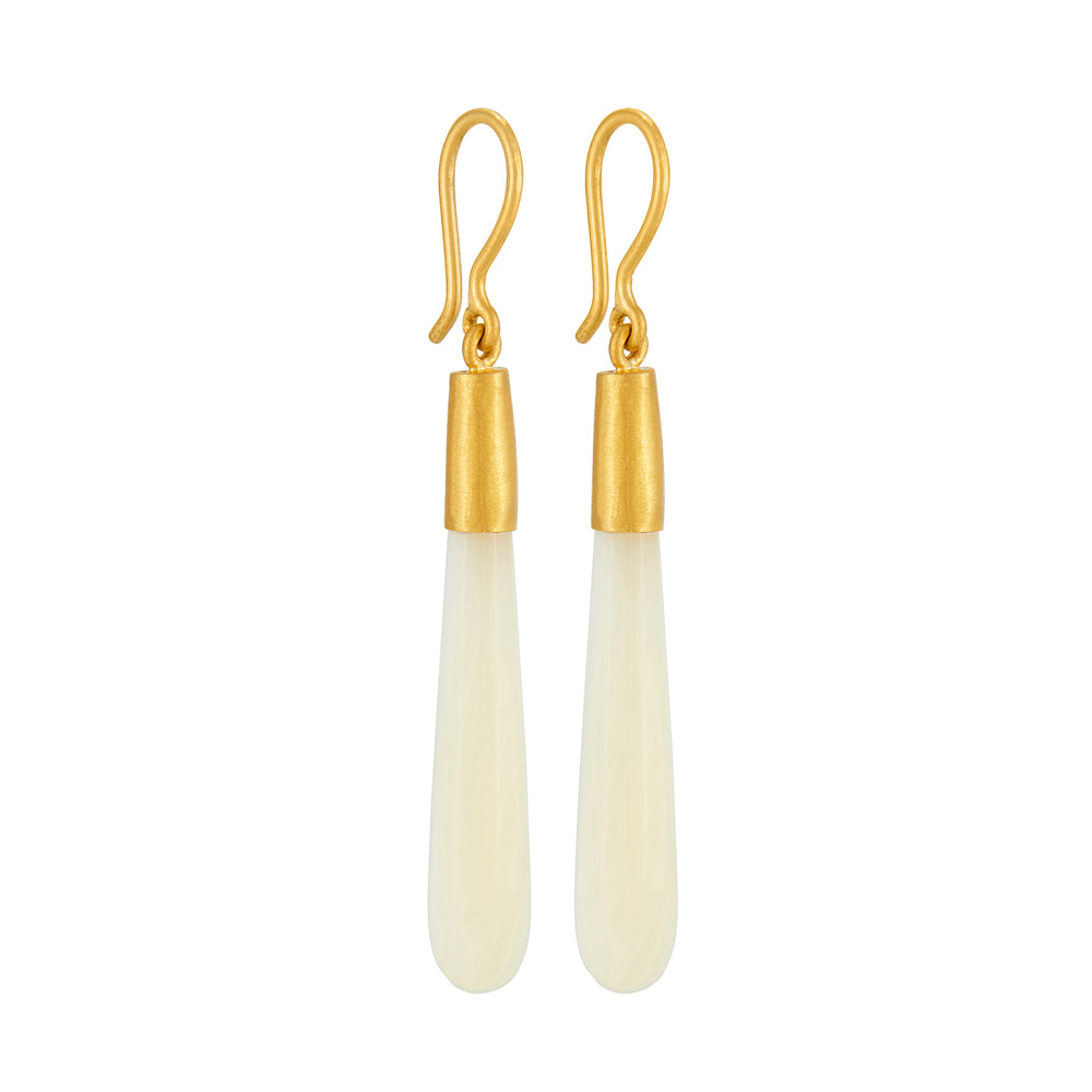 24K GOLD PEARL CONE JANE EARRINGS