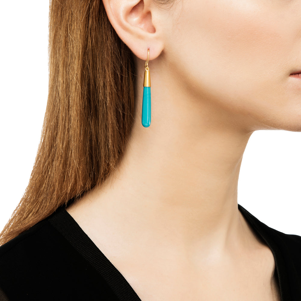 24K GOLD TURQUOISE JANE CONE EARRINGS