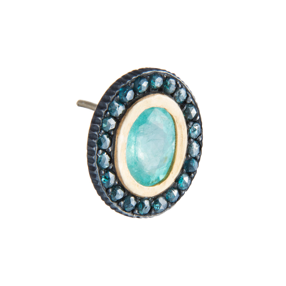 PARAIBA TOURMALINE & BLUE DIAMOND LILAH STUD EARRINGS