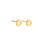 24K GOLD ROSE-CUT DIAMOND MICA STUD EARRINGS