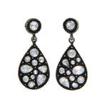 OXIDIZED GILVER ROSE-CUT DIAMOND SARA EARRINGS