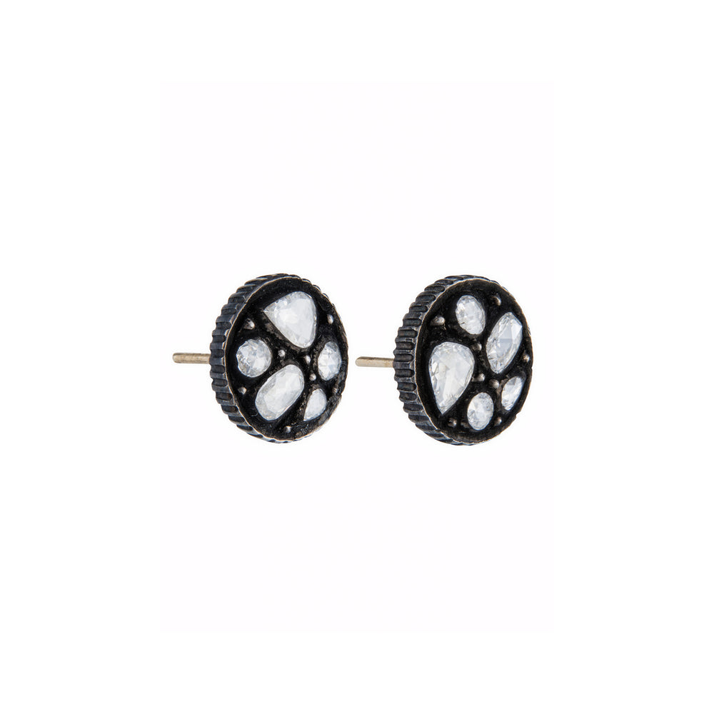 OXIDIZED GILVER ROSE-CUT DIAMOND SARA STUD EARRINGS