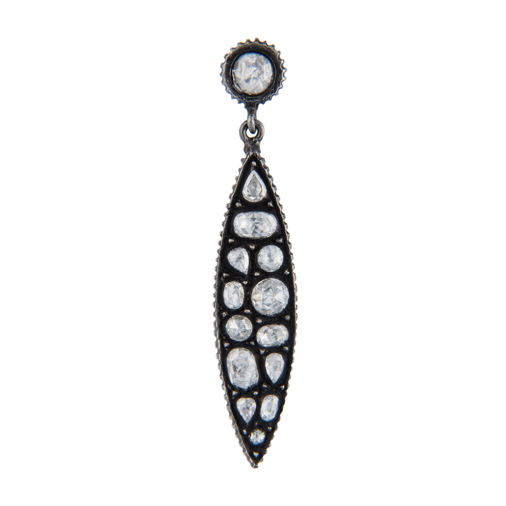 OXIDIZED GILVER ROSE-CUT DIAMOND MARQUISE SARA EARRINGS