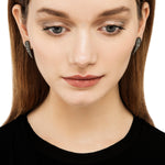 OXIDIZED GILVER ROSE-CUT DIAMOND WING SARA STUD EARRINGS