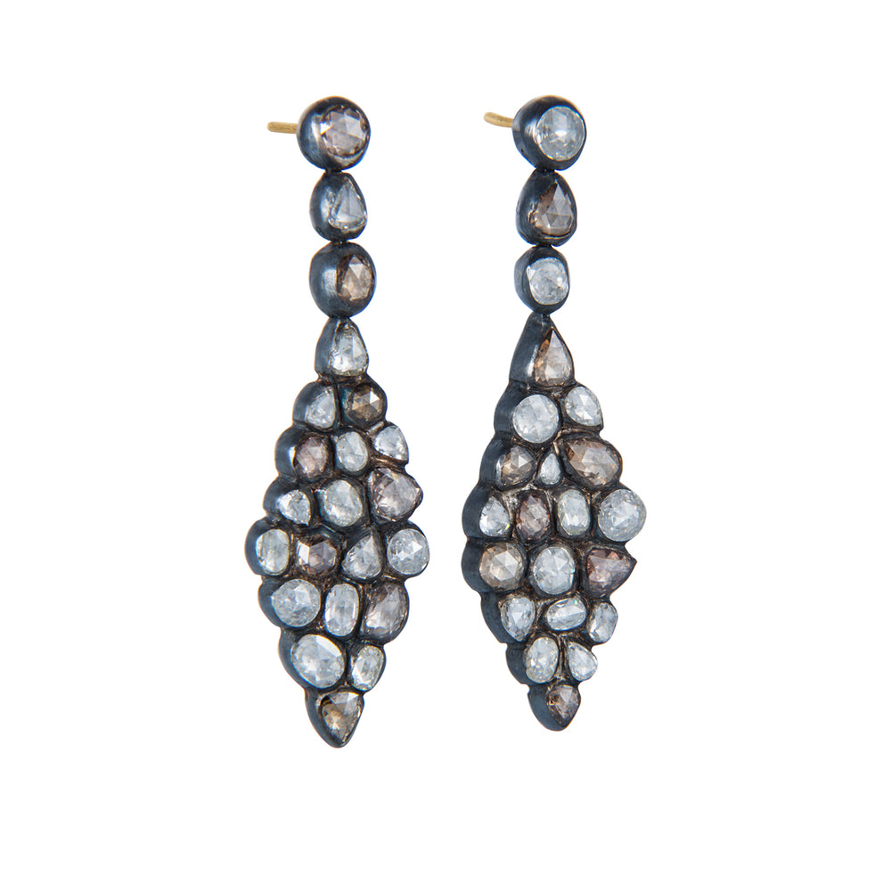 OXIDIZED GILVER DIAMOND CASCADE CHANDELIER EARRINGS