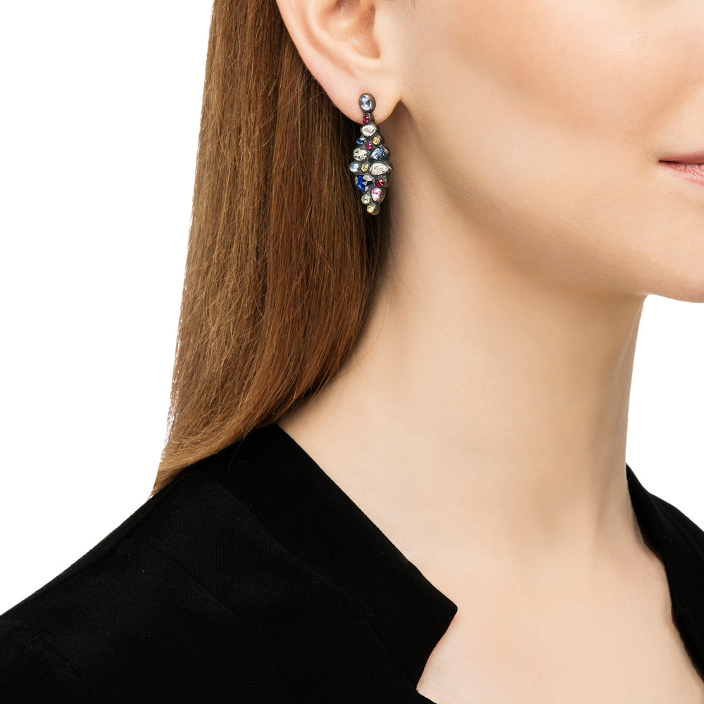 OXIDIZED GILVER MULTI-COLORED SAPPHIRE CASCADE CHANDELIER EARRINGS