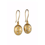 24K GOLD DIAMOND DIAMOND SINGLE BEAD HELEN EARRINGS