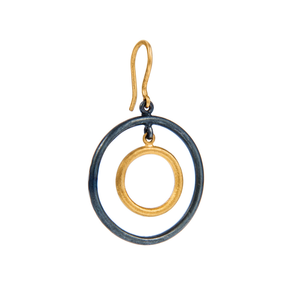 24K GOLD & OXIDIZED GILVER ROUND LOOP RACHEL EARRINGS