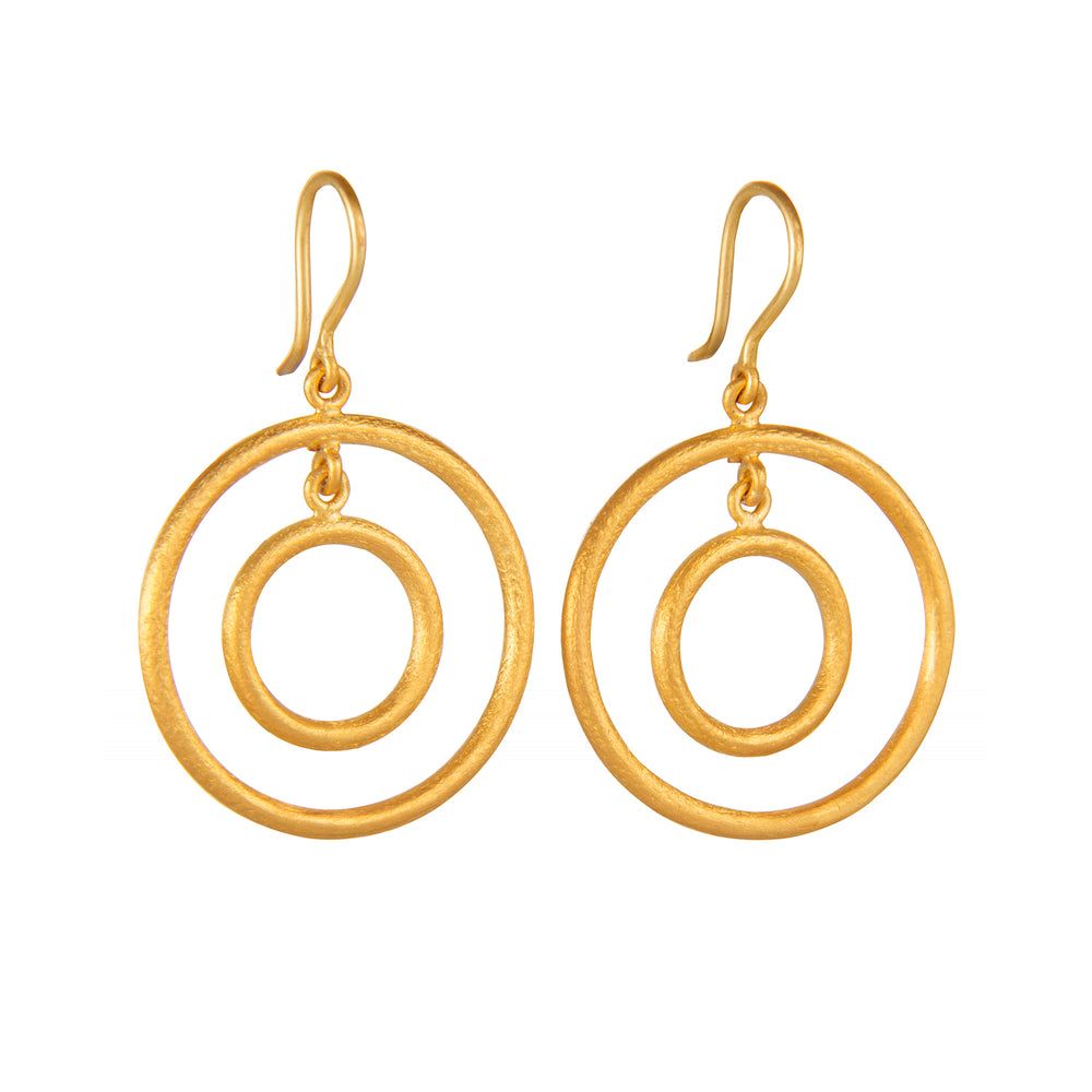 24K GOLD DOUBLE LOOP RACHEL EARRINGS