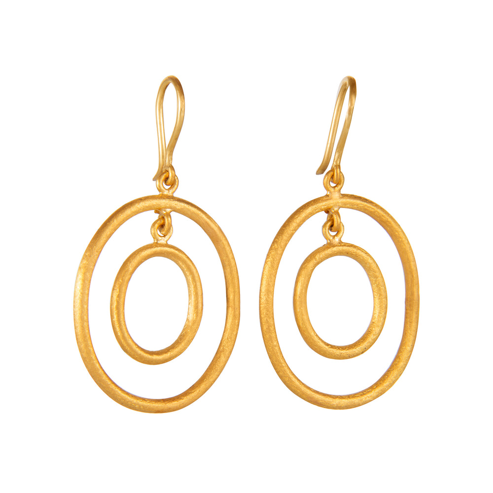 24K GOLD OVAL LOOP RACHEL EARRINGS