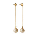 18K GOLD PEARL CHAIN MICA EARRINGS