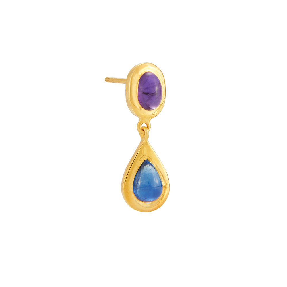 18K GOLD AMETHYST & IOLITE MICA EARRINGS