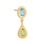 18K GOLD BLUE TOPAZ & PERIDOT MICA EARRINGS