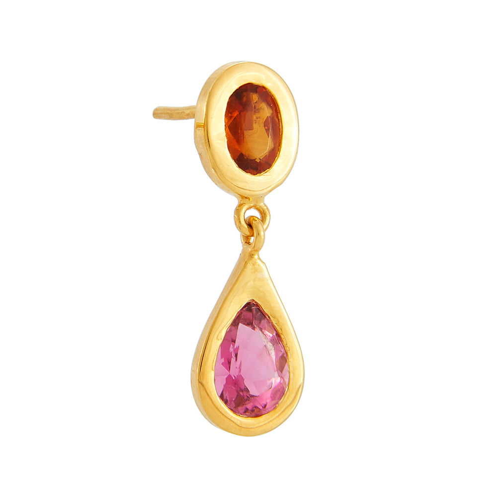 18K GOLD CITRINE & PINK TOURMALINE MICA EARRINGS