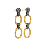 24K GOLD & OXIDIZED GILVER DIAMOND LINK RACHEL EARRINGS