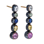 OXIDIZED GILVER 5 MULTI-COLORED SAPPHIRE CASCADE EARRINGS