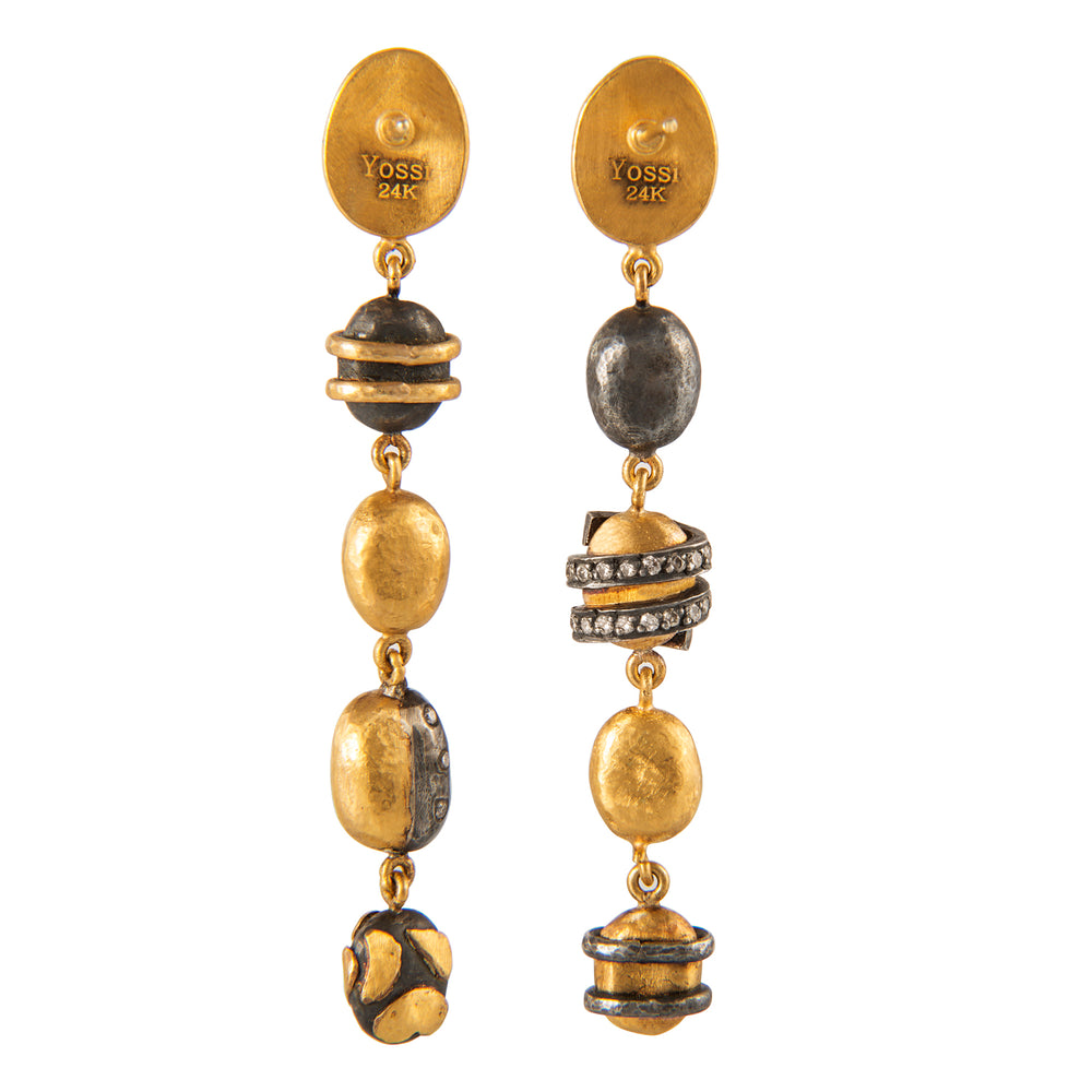 24K GOLD MULTI BEAD DROP HELEN EARRINGS