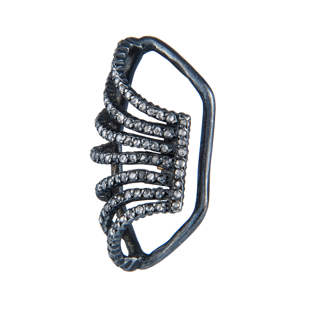 OXIDIZED GILVER DIAMOND LILAH EAR CUFF