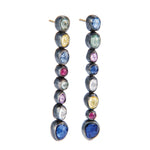 OXIDIZED GILVER 7 MULTI-COLORED SAPPHIRE CASCADE EARRINGS