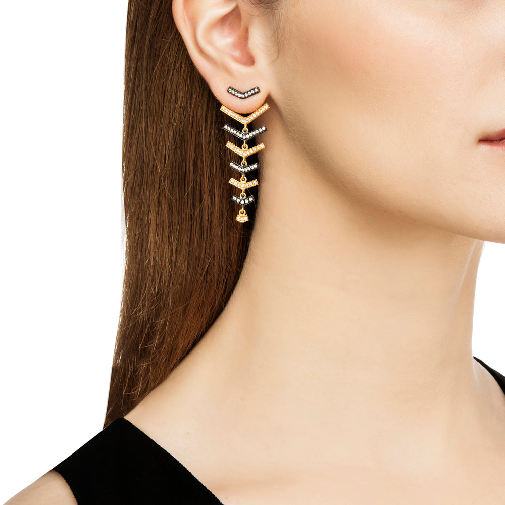 18K GOLD & OXIDIZED GILVER DIAMOND V-SHAPE LILAH EARRINGS