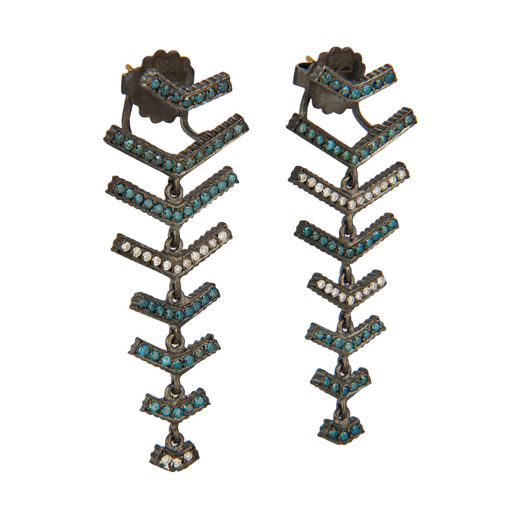18K GOLD & OXIDIZED GILVER BLUE & WHITE DIAMOND V-SHAPE LILAH EARRINGS
