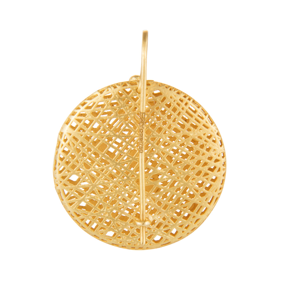 18K GOLD ROUND LACE EARRINGS